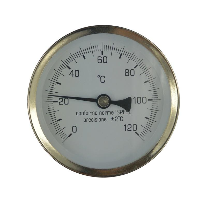 Teploměr bimetalový DN 100, 0 - 120 °C, zadní vývod 1/2