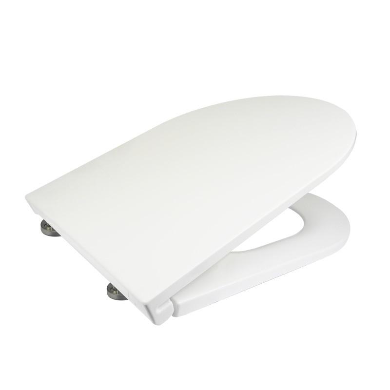 Samozatváracie WC sedátko slim, hranaté, z duroplastu, biele, s odnímateľnými pánty CLICK