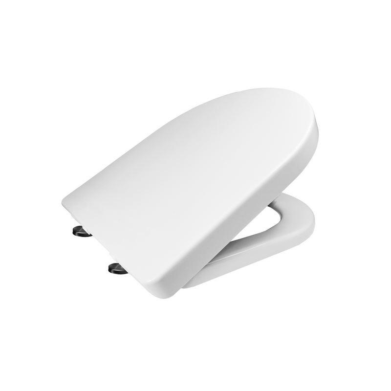 Samozatváracie WC sedátko, hranaté, z duroplastu, biele, s odnímateľnými pánty CLICK