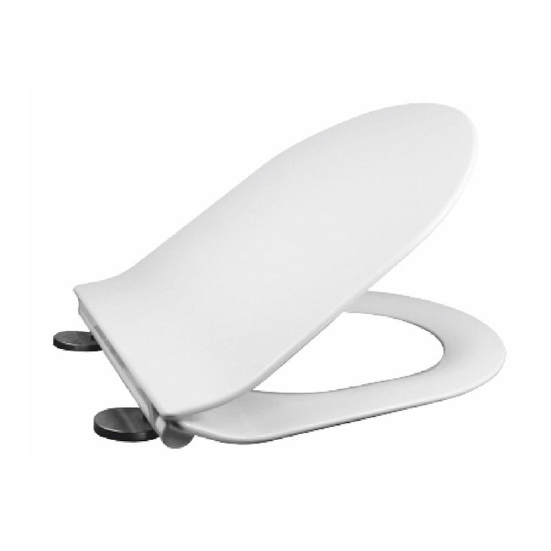 Samozatváracie WC sedátko, oválne, z duroplastu, biele, s odnímateľnými pánty CLICK