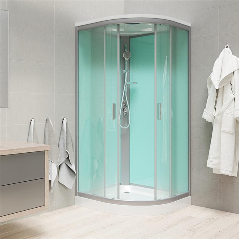 Sprchový box, štvrťkruh, 90 cm, R550, satin, sklo Point s vaničkou
