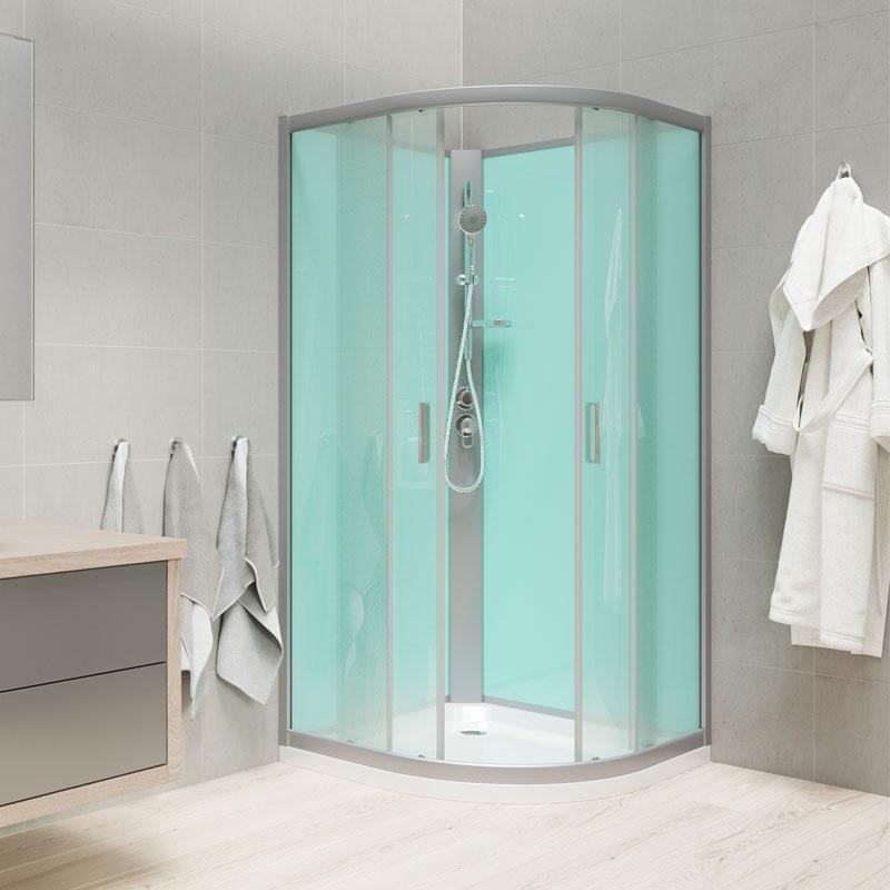 Sprchový box, čtvrtkruh, 100cm, satin ALU, sklo Point, zadní stěny zelené, litá vanička, bez stříšky (CK35162M)