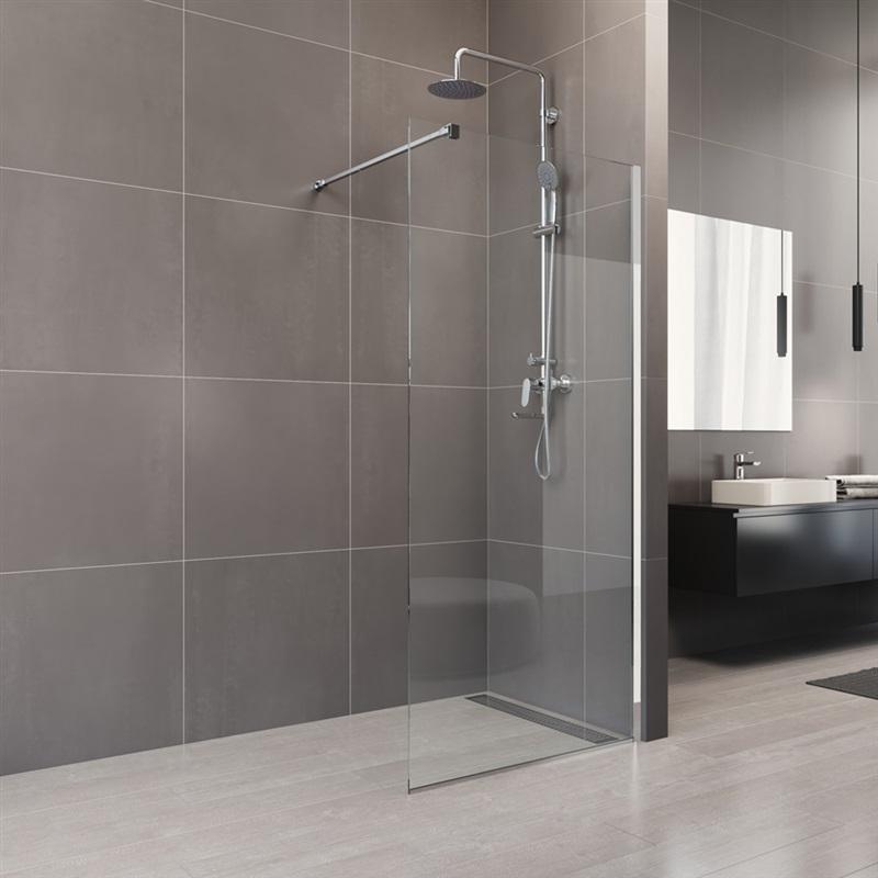 Shower enclosure, Novea, WALK IN, chrom ALU, Clear glass - Mereo.info
