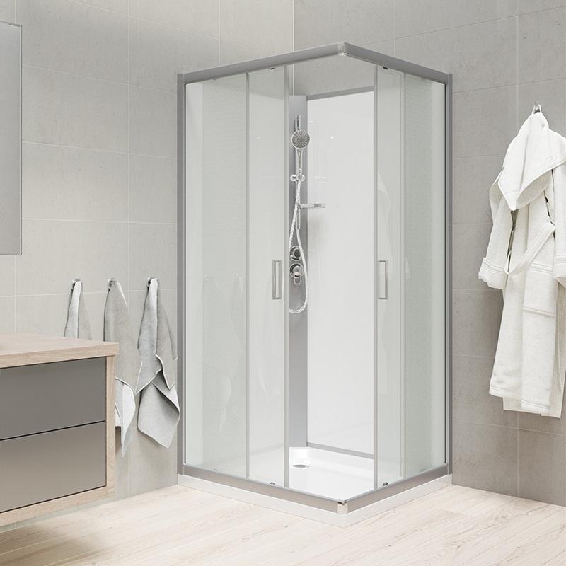 Sprchový box, čtvercový, 90 cm, satin ALU, sklo Point, zadní stěny bílé, litá vanička, bez stříšky (CK34122MW)