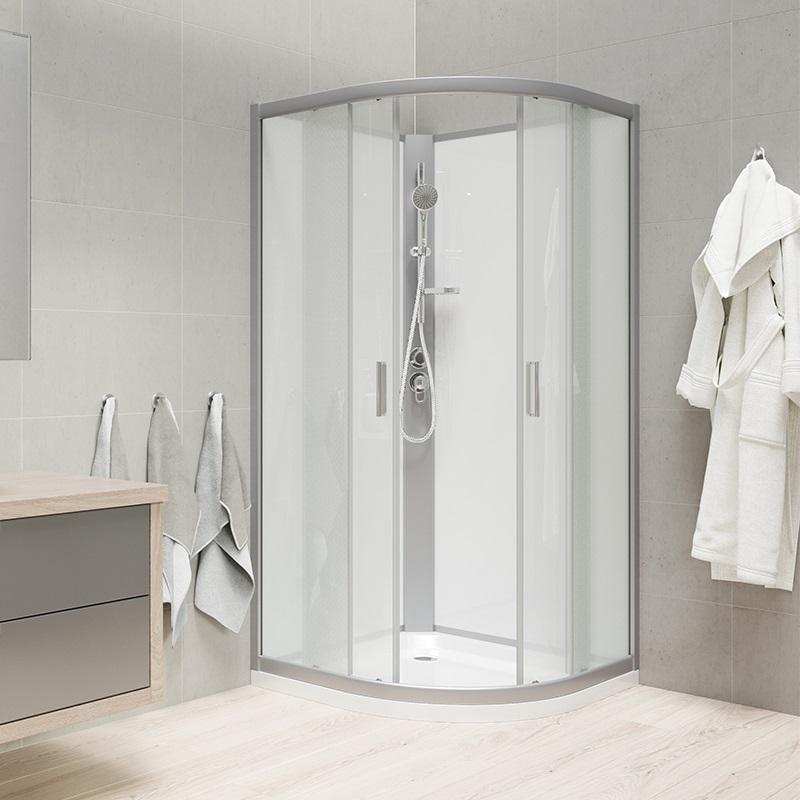 Sprchový box, štvrťkruh, R550, satin, sklo Point, záda biele