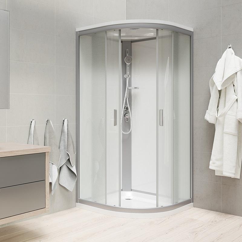 Sprchový box, čtvrtkruh, 90 cm, satin ALU, sklo Point, zadní stěny bílé, litá vanička, se stříškou (CK35122MSW)