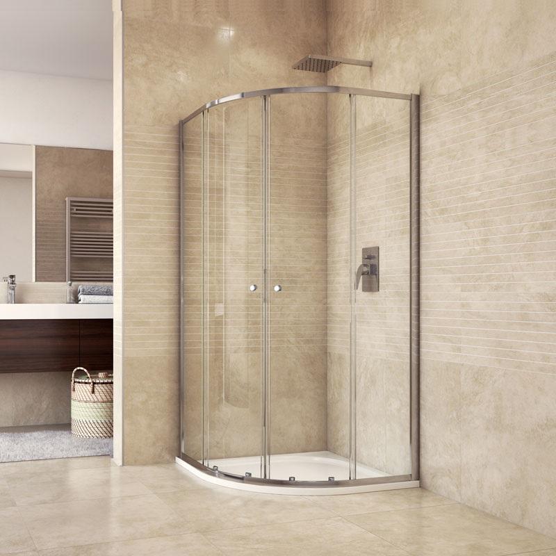Sprchový set: sprchový kout, čtvrtkruh, 90x185 cm, R550, chrom ALU, sklo Čiré, litá vanička (CK35123HM)