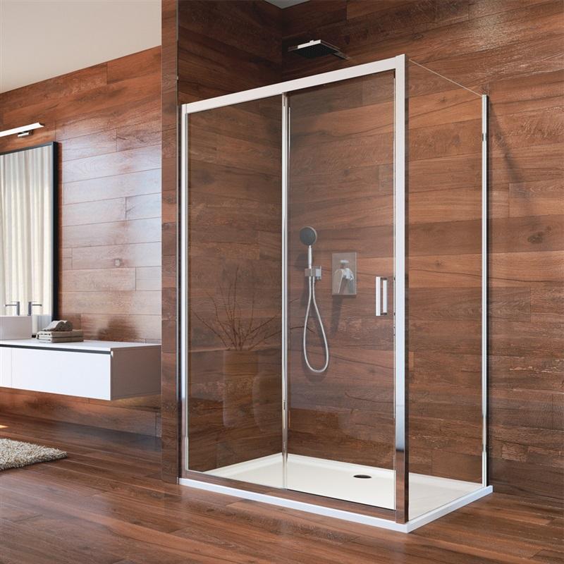 Sprchový kút, Lima, obdĺžnik, zasúvacie dvere a pevný diel, L / P, chróm ALU