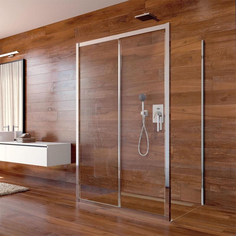 Sprchový kút, Lima, obdĺžnik, pev.díl x zasúvacie dvere x pev.díl, chróm ALU