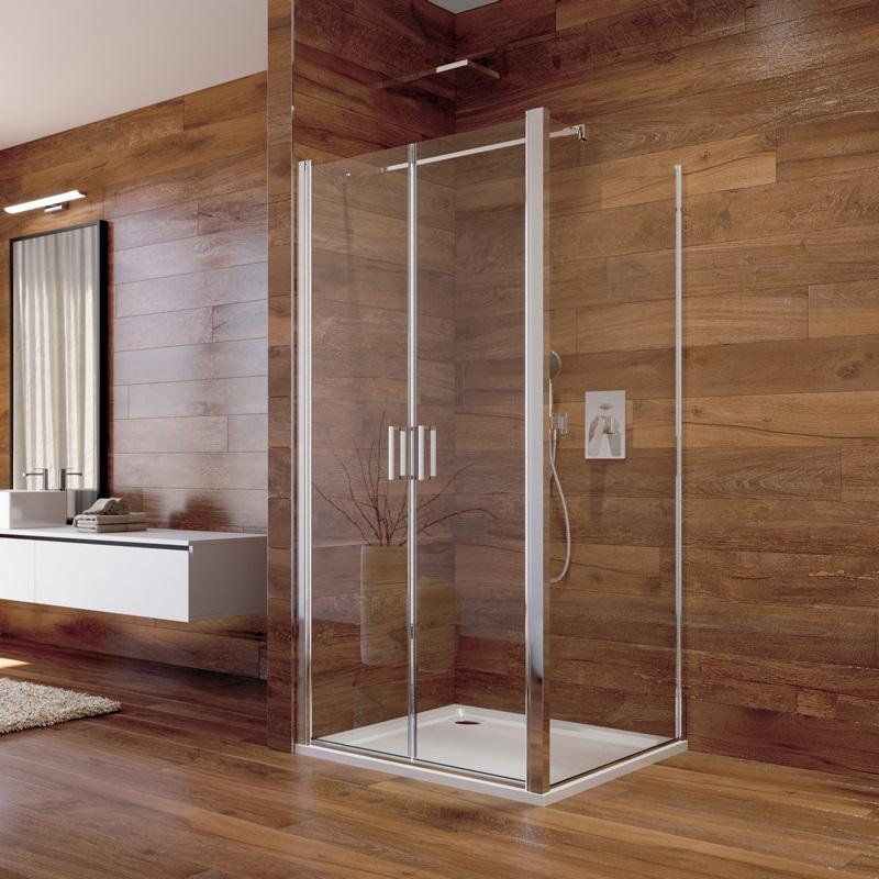 Sprchový kút, Lima, štvorec, chróm ALU, sklo Čiré, dvere lietacie