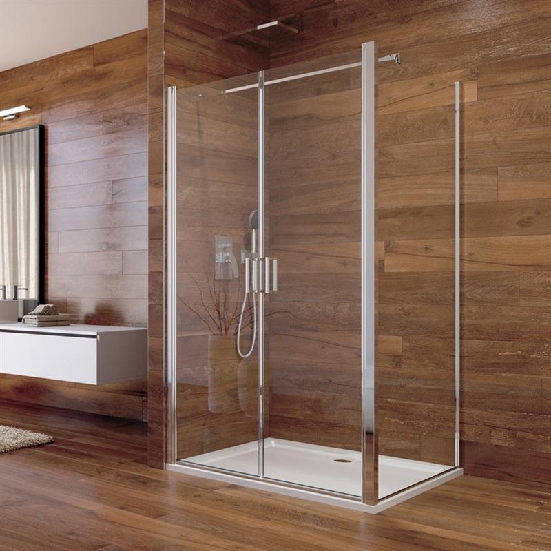 Sprchový kút, Lima, obdĺžnik, lietacie dvere a pevný diel, chróm ALU, sklo Číre