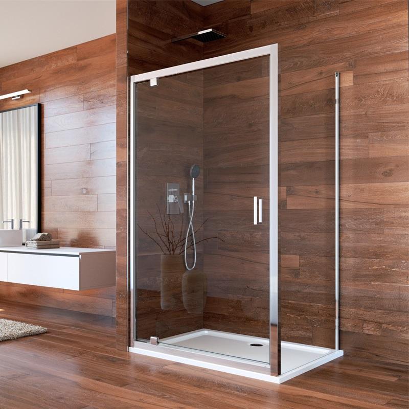 Sprchový kút, Lima, obdĺžnik, pivotové dvere a pevný diel, chrom ALU