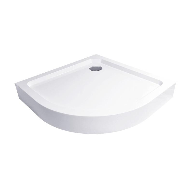 Čtvrtkruhová sprchová vanička R550, 80x80x14 cm, SMC, bílá, včetně nožiček a sifonu (CV11H)
