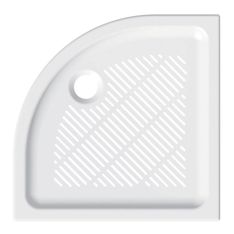 Čtvrtkruhová sprchová vanička, 90x90x6,5 cm, R550, keramická (CV04X)