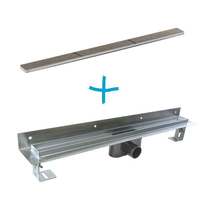 Odtokový sprchový žlab ke stěně, 800x55 mm, vč. roštu Tile, nerez (CZ926)