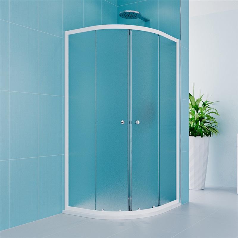 Sprchový set z Kory Lite, čtvrtkruh, 90 cm, bílý ALU, sklo Grape a vysoké SMC vaničky (CK35121HH)