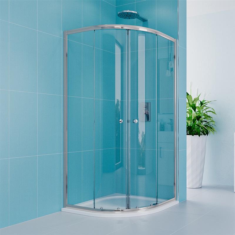Sprchový set z Kory Lite, čtvrtkruh, 80 cm, chrom ALU, sklo Čiré a odtokového žlabu (CK35133HZ)