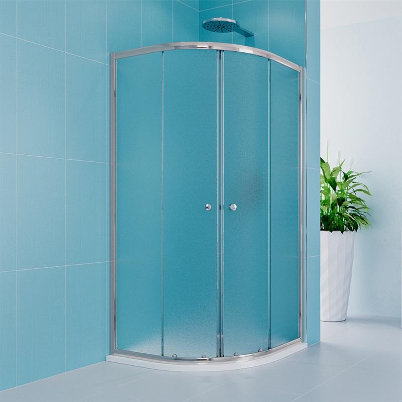 Sprchový set z Kory Lite, čtvrtkruh, 90 cm, chrom ALU, sklo Grape a nízké SMC vaničky (CK35131HN)