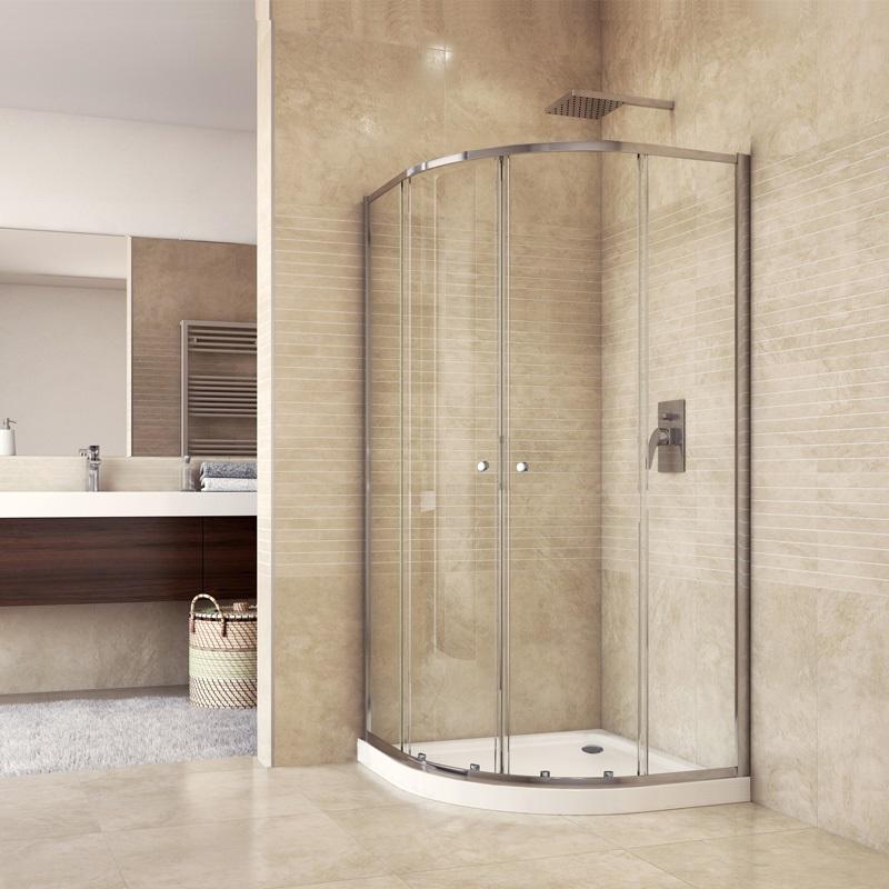 Sprchový set: sprchový kout, čtvrtkruh, 90x185 cm, R550, chrom ALU, sklo Čiré, vanička SMC (CK35123HH)
