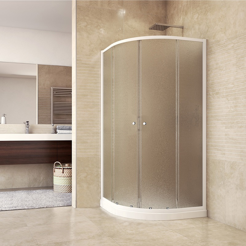 Sprchový set z Akční Kory, čtvrtkruh, 90 cm, bílý ALU, sklo Grape a vysoké SMC vaničky (CK35121HH)