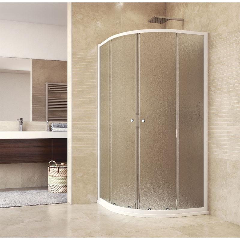 Sprchový set: kout čtvrtkruh, 90x90x185 cm, R550, bílý ALU, sklo Grape, odtokový žlab (CK35121HZ)