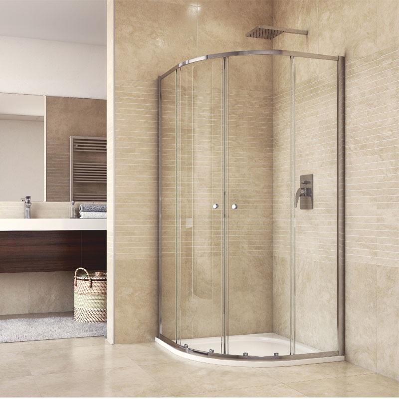 Sprchový set: kout čtvrtkruh, 90x90x185 cm, R550, chrom ALU, sklo čiré, odtokový žlab (CK35123HZ)
