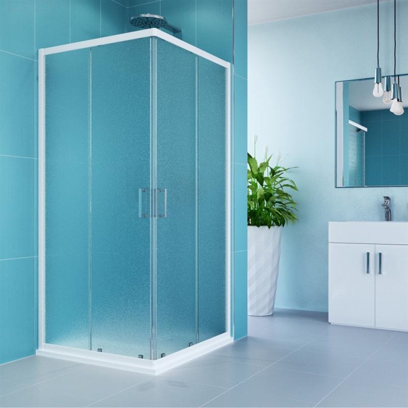 Sprchový kút, Kora, obdĺžnik, 90/80 cm, biely ALU, sklo Grape