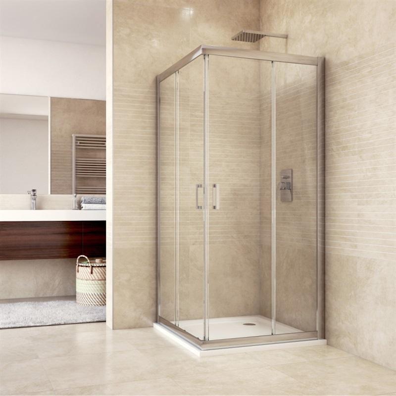 Sprchový kút, Mistica, štvorec, 90 cm, chrom ALU, sklo Čiré, dvere zasúvacie