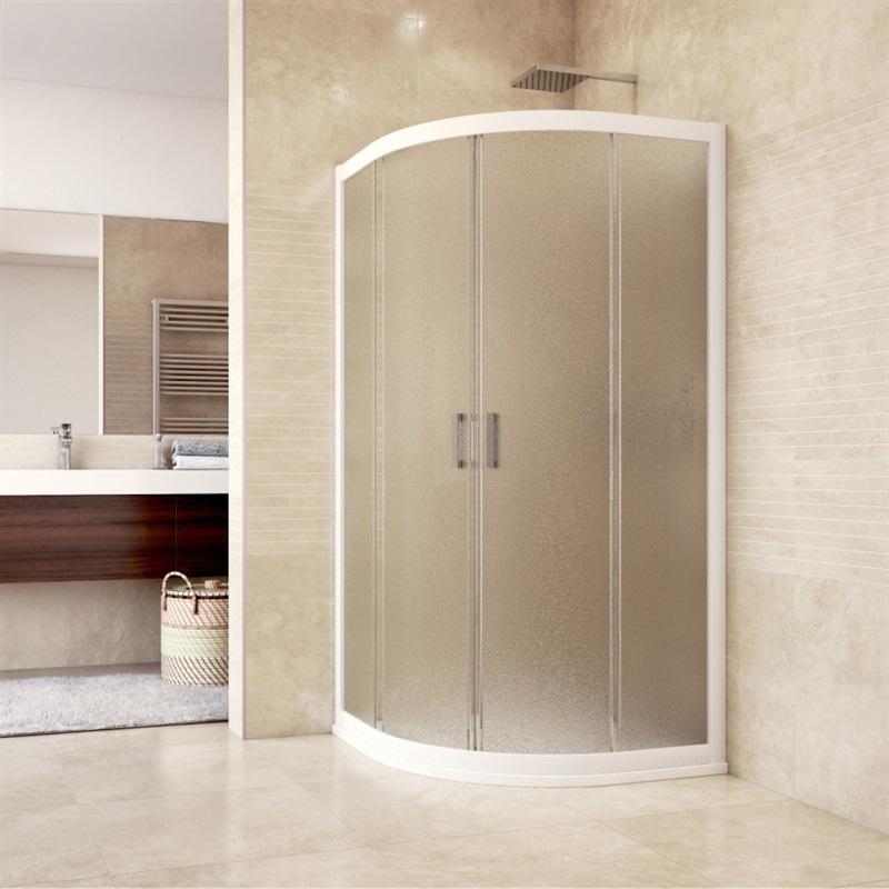 Sprchový kút, Mistica, štvrťkruh, R550, biele ALU