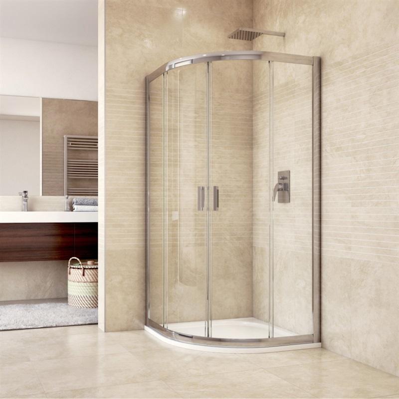 Sprchový kút, Mistica, štvrťkruh, R550, chróm ALU, sklo