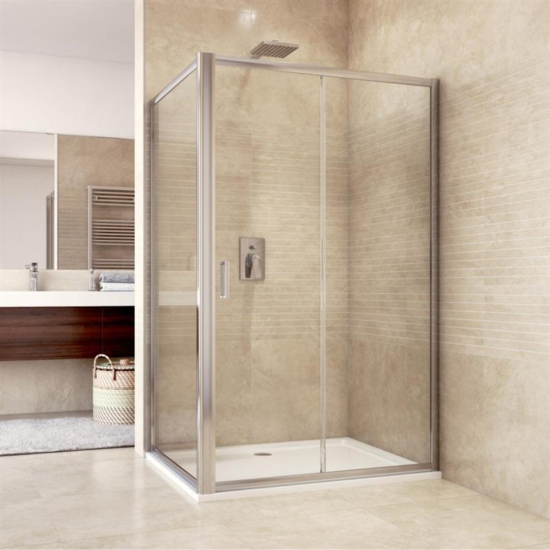 Sprchový kút, Mistica, obdĺžnik, 120 x 100 cm, chróm ALU, sklo Chinchilla