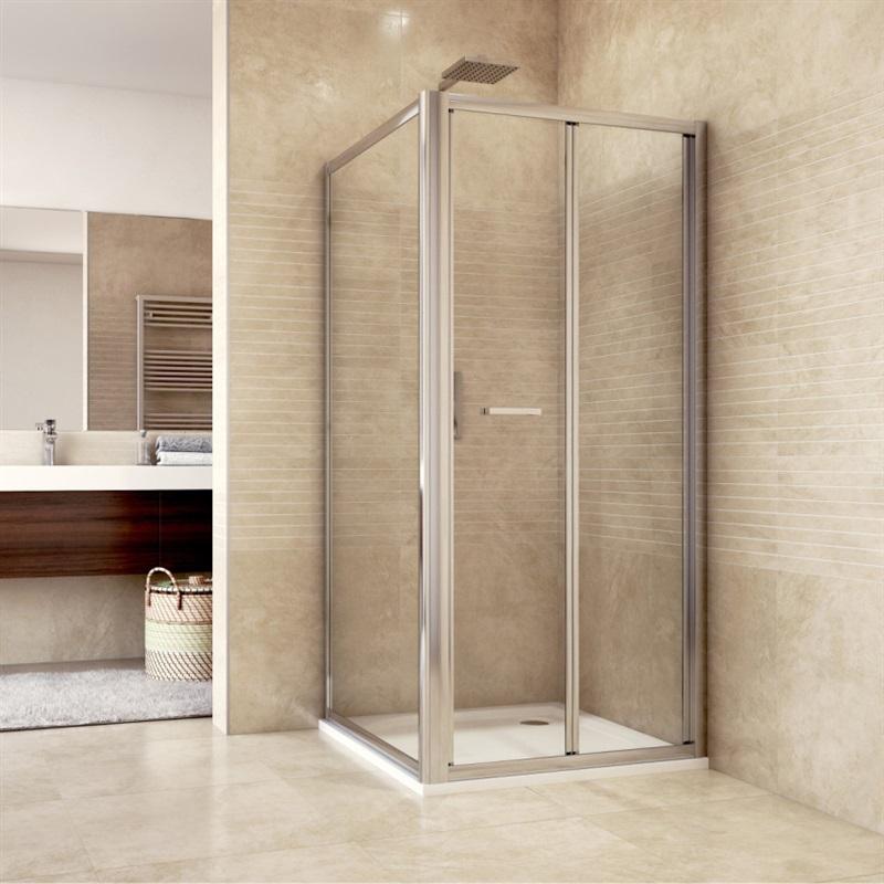 Sprchovací kút, Mistica, štvorec, chróm ALU, dvere zalamovacie