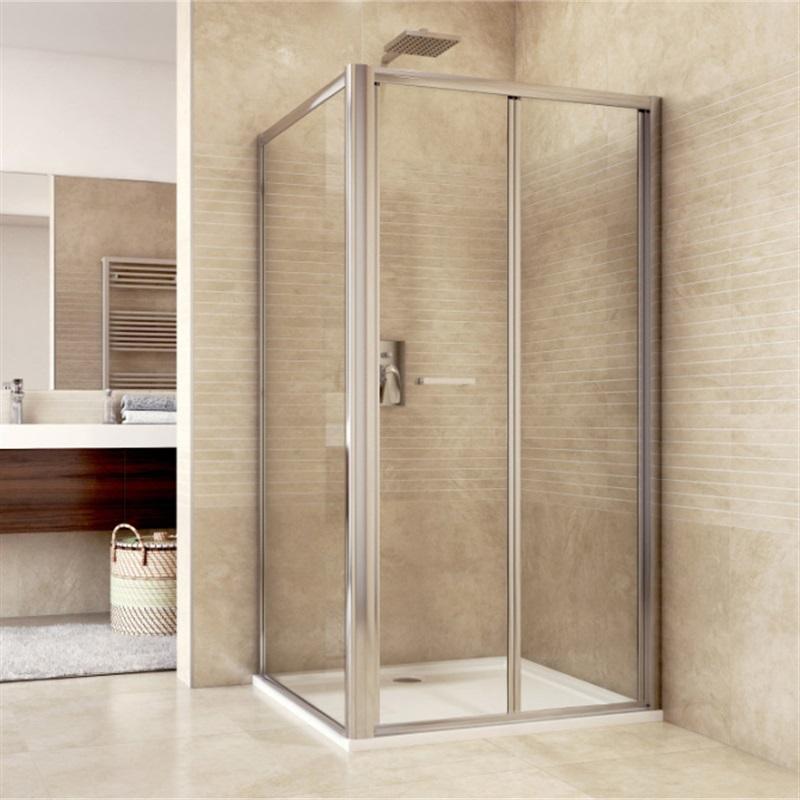 Sprchový kút, Mistica, obdĺžnik, zalamovacie dvere a pevný diel, chróm ALU