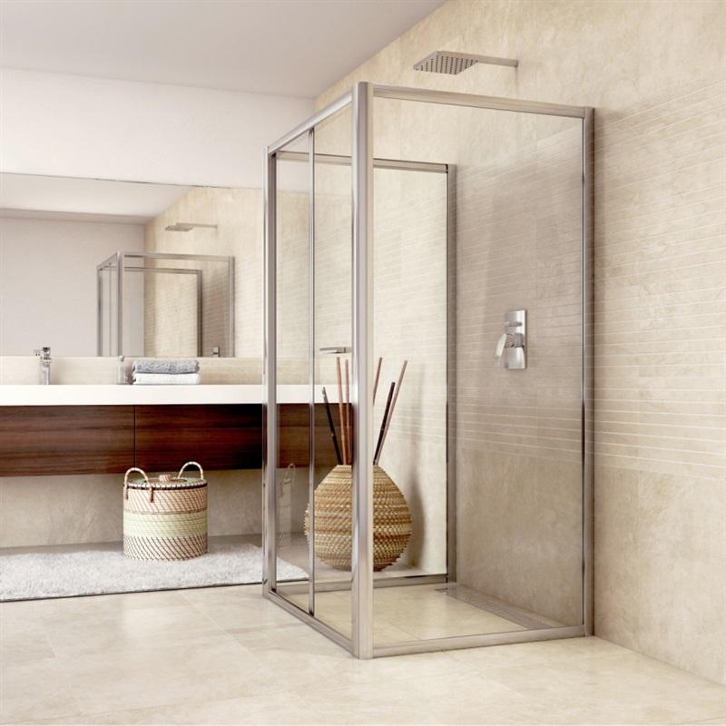 Sprchovací kút do priestoru, Mistica, obdĺžnik, výška 190 cm, chróm ALU, zalamovacie dvere