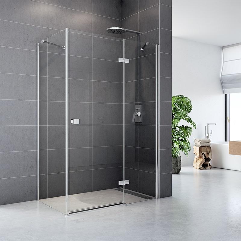 Sprchový kút, Fantasy, obdĺžnik, chróm ALU, sklo Číre, dvere a pevný diel