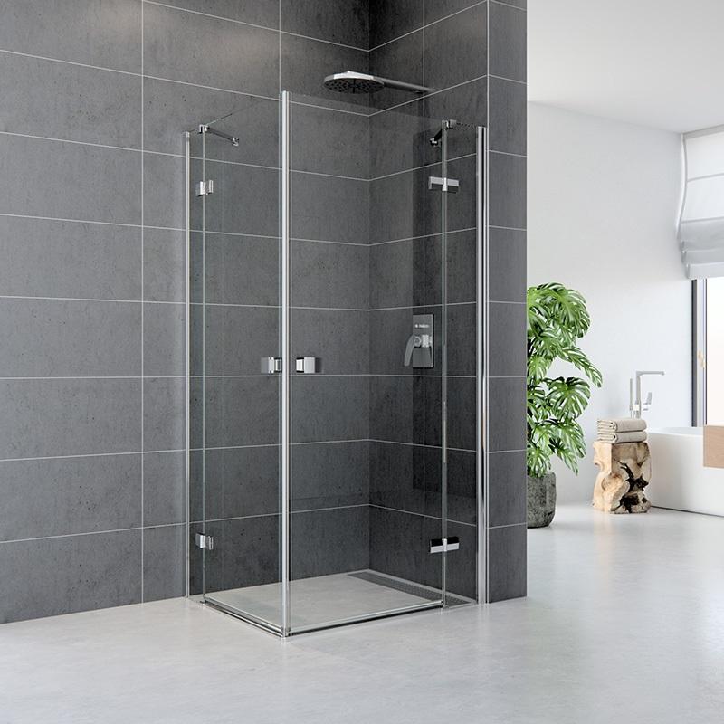Sprchový kút, Fantasy, čtverec, chrom ALU, sklo Čiré