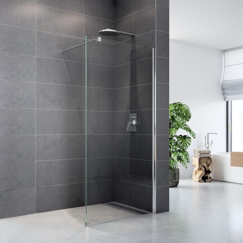 Sprchová stena WALK IN, Fantasy, chróm ALU, sklo Číre