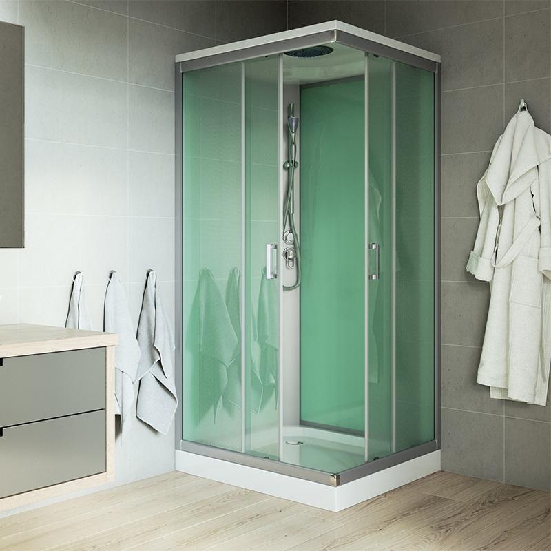 Sprchový box, štvorcový, 90 cm, satin ALU, sklo Point,s vaničkou