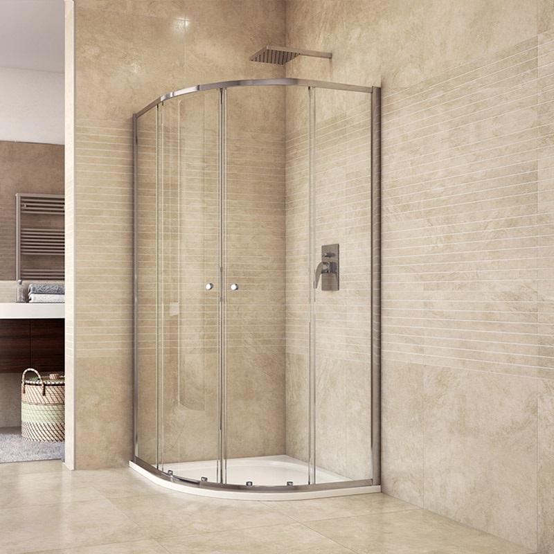 Sprchový kout, Akční Kora, čtvrtkruh, 90 cm, R550, chrom ALU, sklo Čiré (CK35123H)