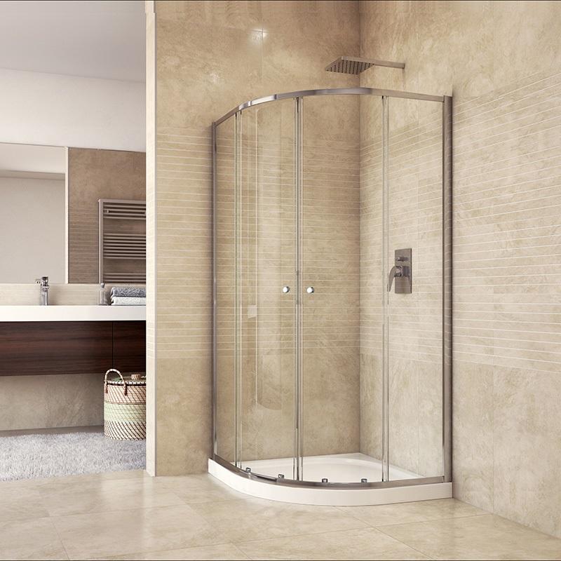 Sprchový set: kout 80x80x185cm, chrom ALU, sklo čiré, litá vanička (CK35133HM)