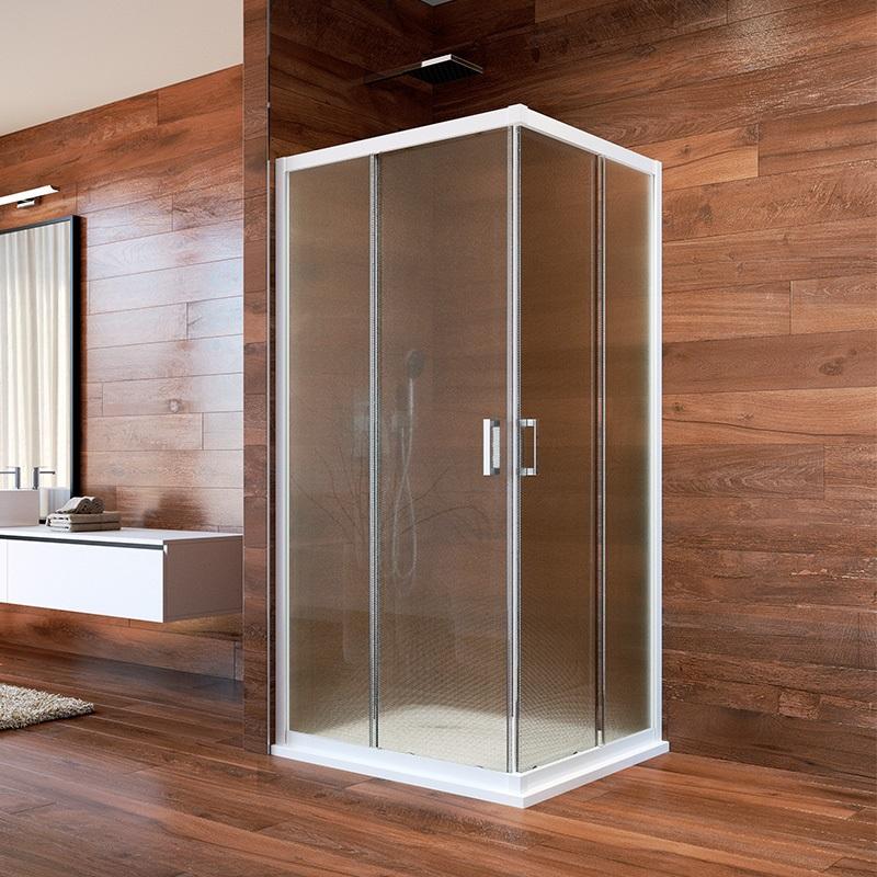 Sprchovací kút, LIMA, štvorec, 90 cm, biely ALU, sklo Point