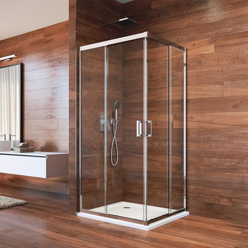 Sprchovací kút, LIMA, štvorec, chróm  ALU, sklo Číre