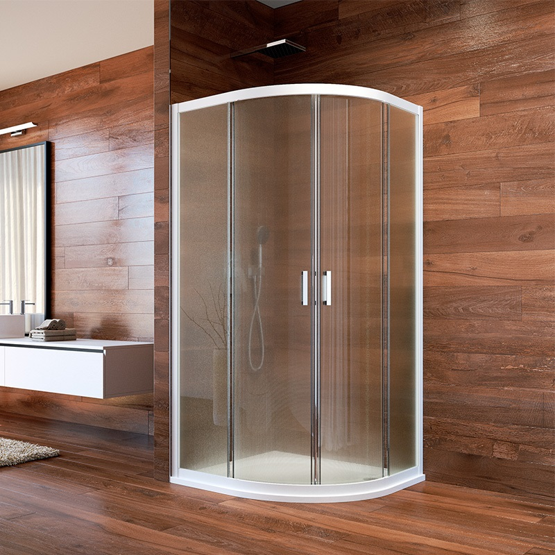 Sprchovací kút, LIMA, štvrtkruh, 90 cm, biely ALU, sklo Point