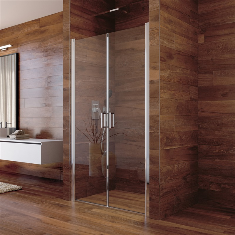 Sprchové dveře, Lima, dvoukřídlé, lítací, 80x190 cm, chrom ALU, sklo Čiré (CK80513K)