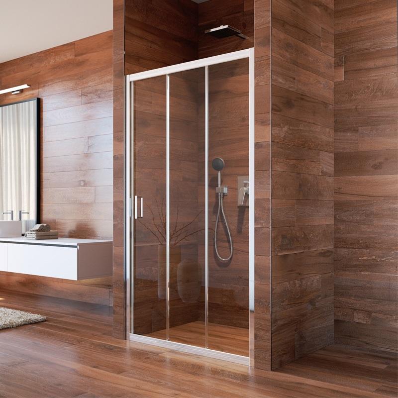 Sprchové dvere, LIMA, trojdielne, zasúvacie, chróm ALU, sklo Point