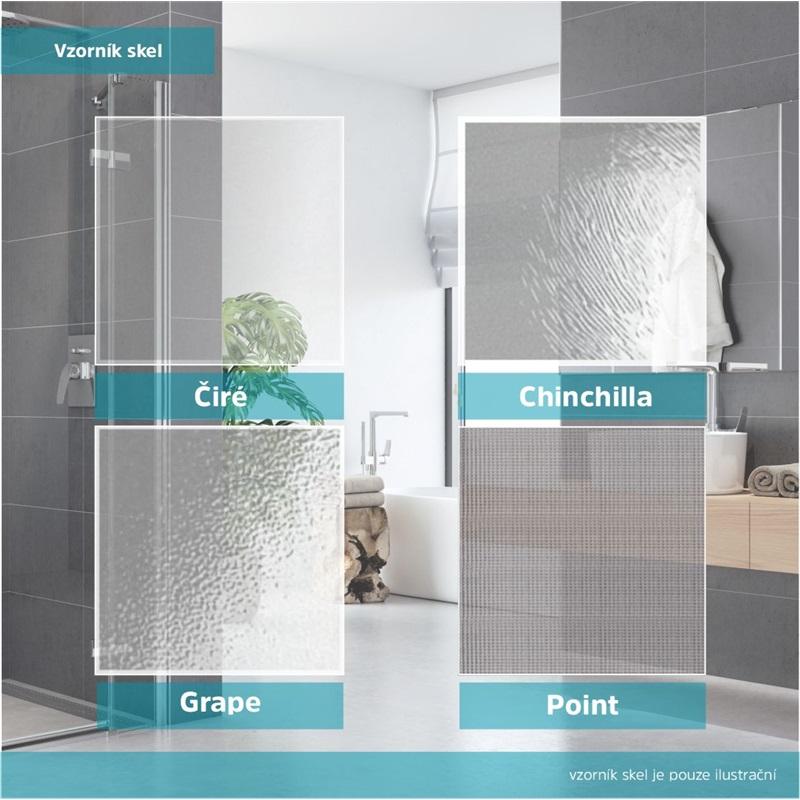 Sprchový set: kout čtvrtkruh, 90x90x185 cm, R550, chrom ALU, sklo Grape, odtokový žlab (CK35131HZ)