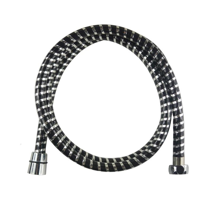 Sprchová hadica 150 cm, čierna - chróm