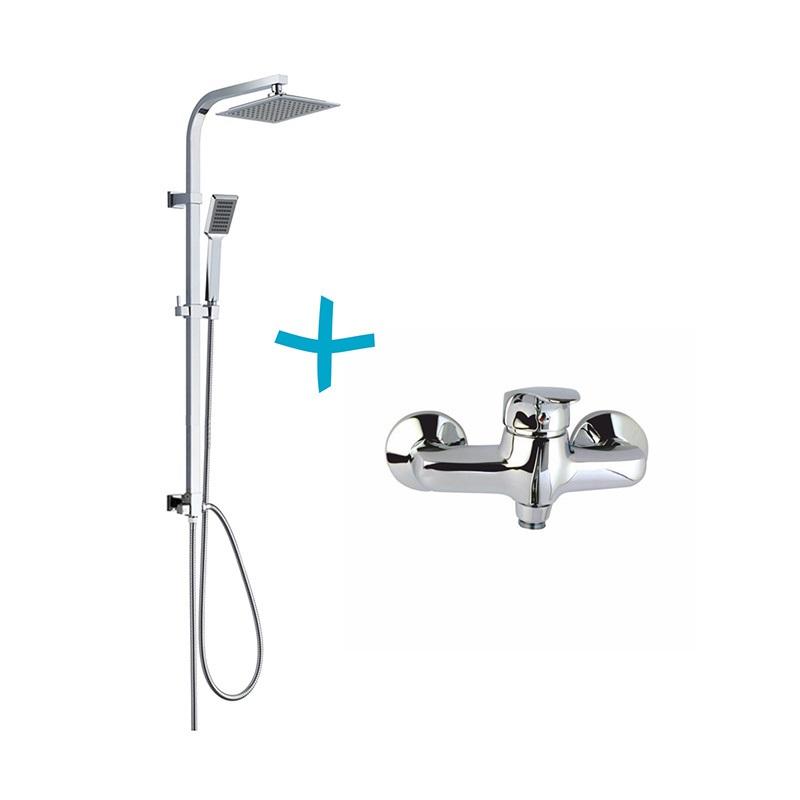 Sprchová súprava Quatro-plast. hlavová sprcha a jednopolohová ručná sprcha vr.sprchove batérie 150mm