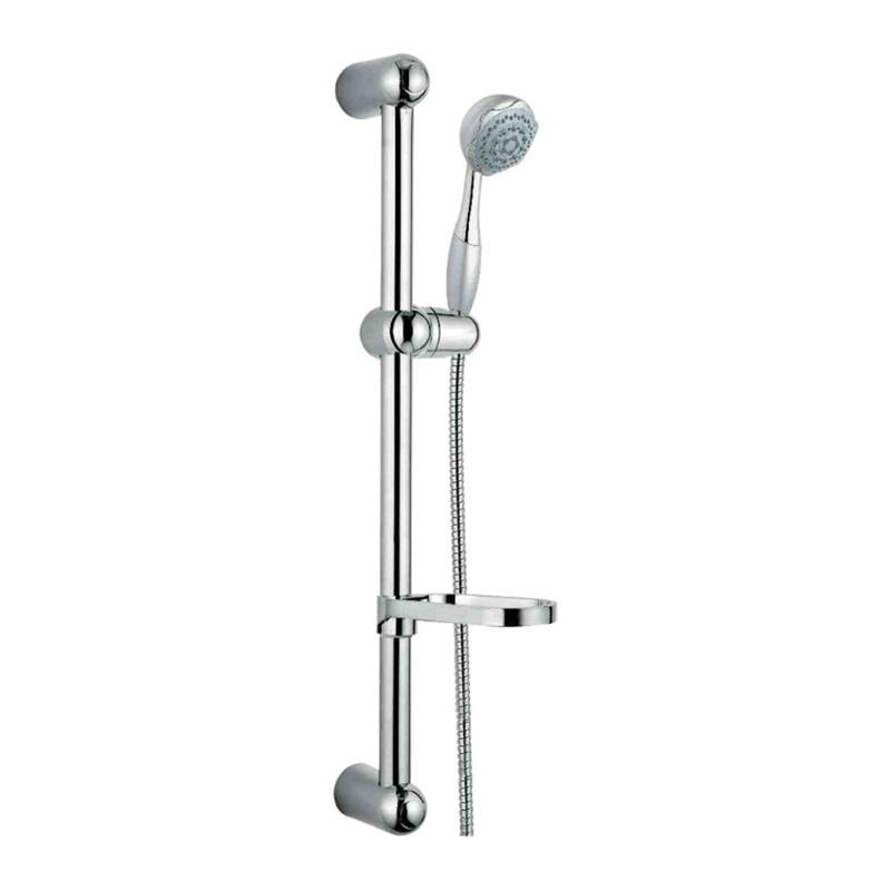 Sprchová súprava, päťpolohová sprcha, dvojzámková  hadica, nastav. držiak, mydelnička, plast/chróm