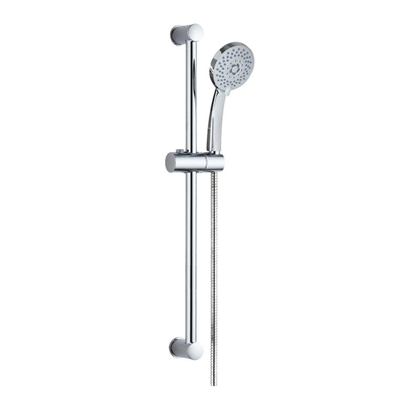 Sprchová súprava, pätpolohová sprcha,  špirálová čierna hadica, nastaviteľný držiak, plast/chróm